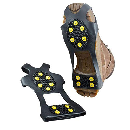 NEEBAO Ice Shoes Grippers Cleats for Shoes,Ice Snow Grips Traction Cleats for Men/Women/Kids,Anti-Slip Ice Shoes Covers for Boots(Large (Shoes Size:W 10-13/M 8-11))