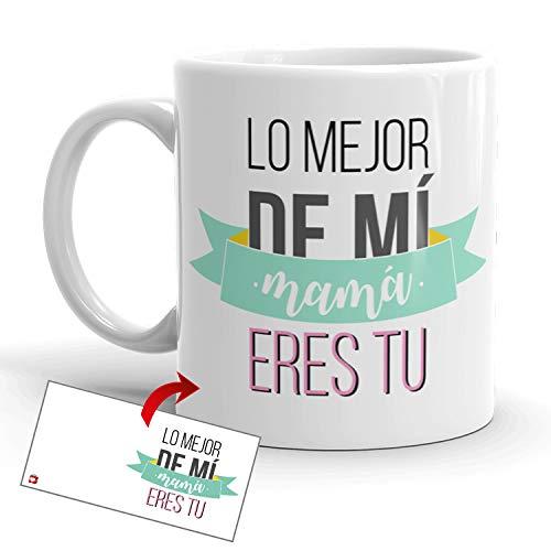 Kembilove Taza Desayuno para Madres – Tazas Originales Graciosas con Mensaje Lo mejor de mí mamá eres tú – Taza de Café y Té para Madres para regalar el día de la madre – Tazas de 350 ml