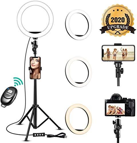 8 Ring Light met statief Stand Mobiele telefoonhouder Dimbaar 2700-5500K Licht vullen voor livestream Youtube Video Makeup Vlog Photography (Upgrade)