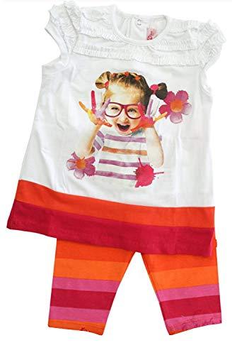Mayoral Mädchen Baby Kindermode-Set T-Shirt & Leggings Farbenspiel, Weiß-Orange, Gr. 80 (80)