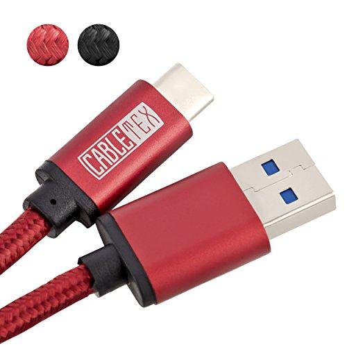 USB C Kabel auf USB 3.1 Typ A I 1,5 m Ladekabel Nylon Datenkabel für USB 3.0 Computer & Smartphones wie Huawei Mate 10 Pro, Samsung Galaxy S8, S8+, OnePlus 5T, HTC 10, MacBook Pro & mehr - ROT
