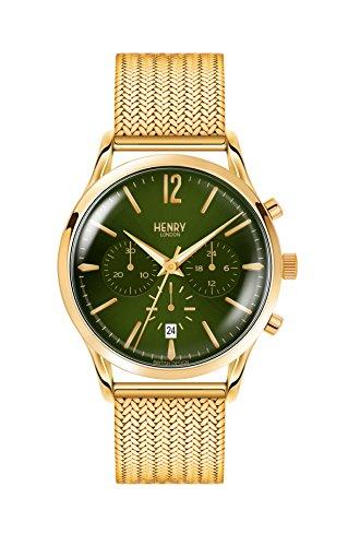 Henry London Herren Chronograph Quarz Uhr mit Edelstahl Armband HL41-CM-0108