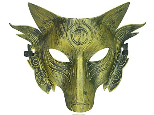 Star Cosplay Wolf Kostüm Maske Full Face Maskerade Maske für Männer Frauen Halloween Party Spiel Dekoration (Gold 2)