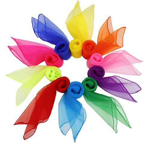 Tanz Tücher 20 stück Bunt Square Jongliertücher Performance Schals für Kindergarten Kinder Mädchen Party-Aktivitäten Zubehör Dekoration 60 x 60 cm 10 Farben