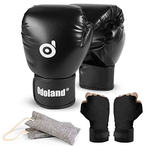 Boxhandschuhe mit Handwickeln und Handschuhdeodorantien, Erwachsene Boxen Punchinghandschuhe ideal für Kickboxen Boxen UFC MMA Muay Thai Sparring Kickboxhandschuhe für Männer und Frauen L-14 OZ