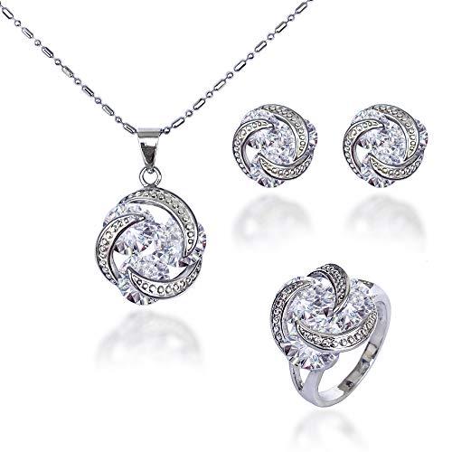 Juego de Joyas de Plata 925 bañado en oro blanco para Mujer, Conjunto de Collar Pendientes y Anillo con Circonitas, Regalo para Mujer (9)
