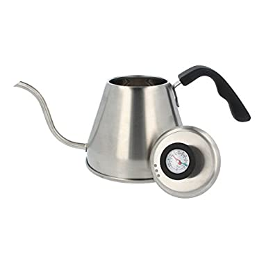 The Brewing Lab Pour Over Drip Built-In Thermometer Stainless Steel Gooseneck Kettle, 1.2 L