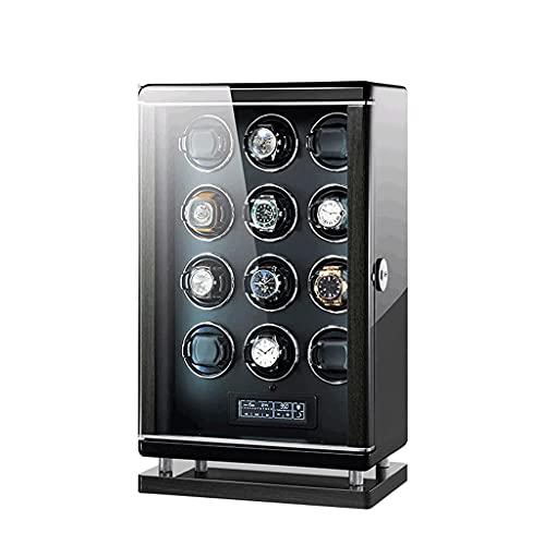 WBJLG Enrollador de Reloj para 12 Relojes automáticos Almohadas de Reloj Ajustables Concha Pintura de Piano + Madera de Pino de Alta Densidad Regalo de Lujo Ultra silencioso