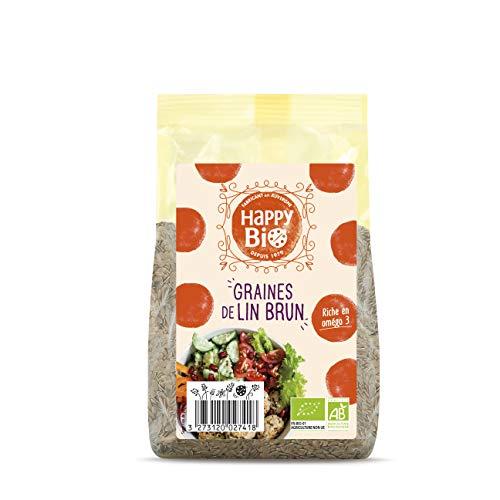 Happy Bio Graines de Lin Brun Bio 250 g