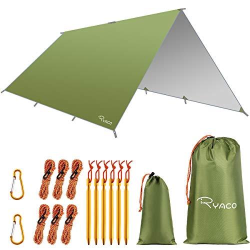 Ryaco Toldo de Refugio Impermeable 3M*3M, Hamaca Tienda de campaña, portátil, Ligera, Impermeable, Refugio para Camping, Senderismo, Mochila (Ejercito Verde, 3m x 4m)