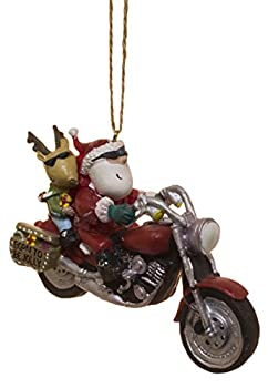 Cape Shore Santa and Reindeer Riding a Harley Motorcycle Ornament