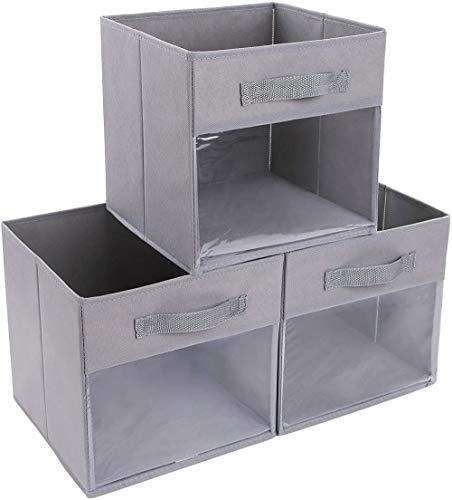 3er Pack faltbare Aufbewahrungsboxen mit transparentem Fenster Stoffaufbewahrungswürfel mit verstärktem Griff Offene Aufbewahrungsbehälter Körbe für Kleiderschrankregale Haushalts- und Büroablage
