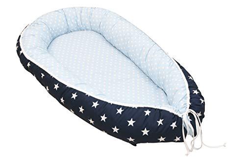 Nido para bebé de ULLENBOOM ® azul claro azul gris (nido de 55 x 95 cm de algodón; apto como cuna de viaje y para el colecho; dibujo: estrellas)
