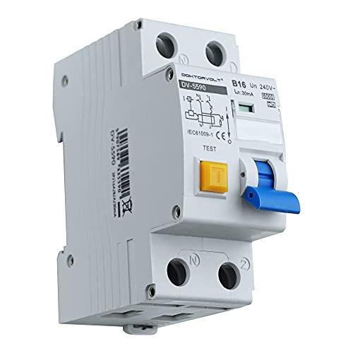Interruptor diferencial con interruptor diferencial RCBO 2P B16A A 30 mA FI+LS Interruptor combinado Doktorvolt 5590