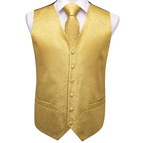 Dubulle Gold Vest for Men with Necktie Pocket Square Cufflinks Set Gold Paisely Mens Waistcoat Tie Set
