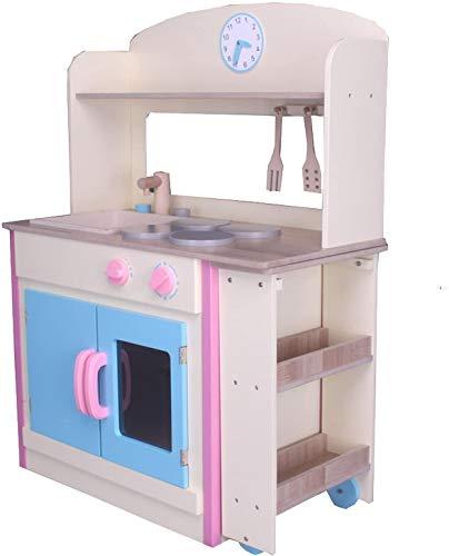 habeig Kinderküche #797 mit ausrollbarem Tisch Spielküche Küche Holzküche Kinder Kinderspielküche