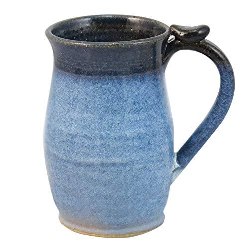 American Made Stoneware Pottery Classic 16-oz Tall Mug with Thumb Grip (Denim Blue)