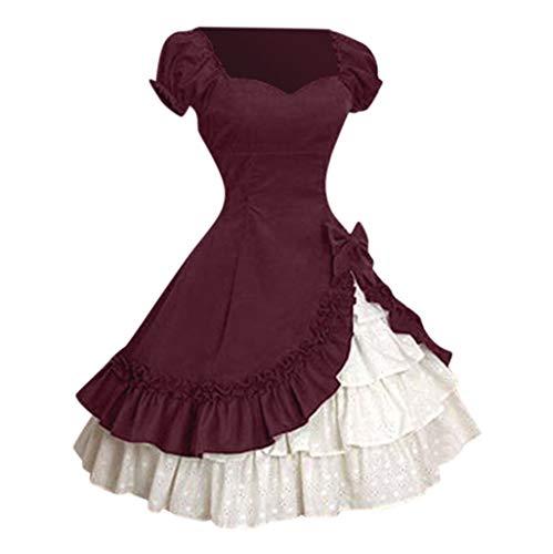 iCerber Elegant Vintage Frau Kleid Abend Groß Größe Cocktailkleid Lolita Kleid Kurzarm und quadratischen Kragen gekräuselten Schichten Gothic Lolita Kleid - für Teeparty, Themenparty(XL,Wein)