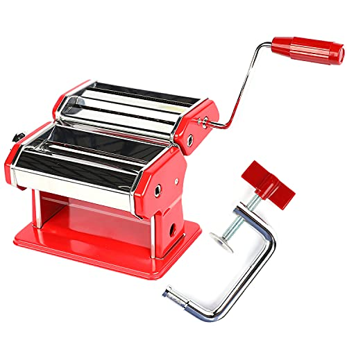 """Houseables Pasta Maker, Stainless Steel, 8""""x6"""", Red, w/ Adjustable Dough Roller, Hand Crank, Table Clamp, Noodle Cutter & Press, Attachments for Lasagna, Spaghetti, Fettuccine Making Machine, Clay"""