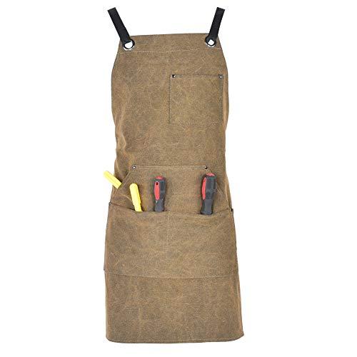 Alomejor1 Arbeitsschürze Verstellbare Leinwand Werkzeugschürze Wasserdicht Zimmermann Schürze Anzug für Küche Garten Keramik Handwerk Werkstatt Garage
