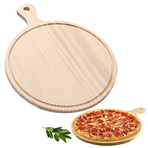 Plato Para Pizza De Madera Con Asa Bandeja Para Pizza De Madera Natural No Tóxico Duradero Use Ambos Lados, Para Familia, Restaurante, Camping, Pizza, Bistec, Pan, Pastel, Fruta Etc—10 Pulgadas