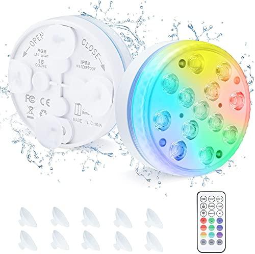 LED Sommergibili Luci Piscina, OxyLED Luce Sommergibili Luci per Laghetto con 13 LED Sommergibili Luci Impermeabili IP68 per La Cerimonia Nuziale, Partito, Fish Tank Decorazione ,2 Pcs