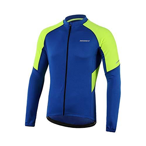 BERGRISAR Men's Basic Cycling Jerseys Long Sleeves Bike Bicycle Shirt Zipper Pockets BG012 Dark Blue Size Large