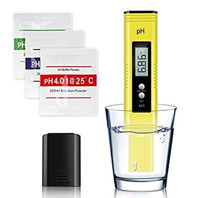 Arozk Digital PH Meter,Water Quality PH Tester Pen Kit 0.01High Accuracy Pocket Size PH Reader with 0-14 PH Measurement Range with ATC,for Household Drinking,Pool,Aquarium Water,Food and Beer Brewing