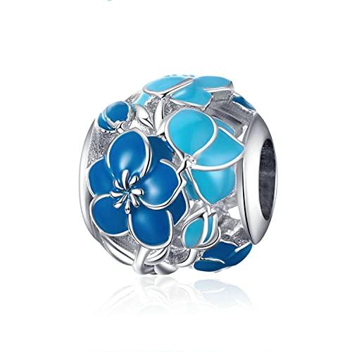 WMYDYBD Cuentas de Flor de Flor Azul 100% Encanto de Plata de Ley 925 Apto para Pulsera Original Colgante de Plata fabricación de Joyas de Bricolaje