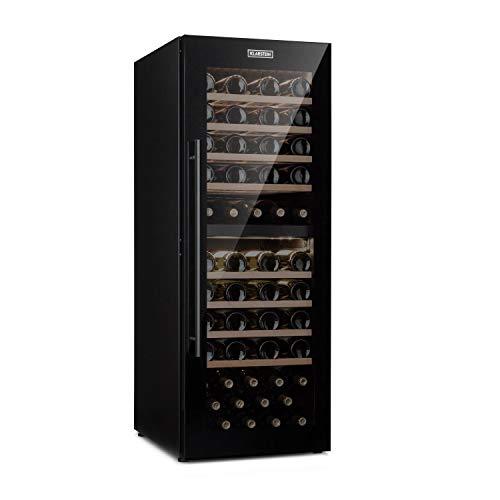 Klarstein Barossa 77 Duo Nevera para vinos - Nevera de bebidas, 2 zonas: 5-20°C, 191 L, 77 botellas, 100 W de potencia, Control táctil, Iluminación interior LED, Silencioso, Negro