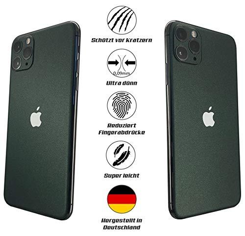 Apple iPhone 11 Pro Max Beschermfolie voor de achterzijde/achterzijde, beschermt tegen krassen, stof. Compatibel met hoezen en andere accessoires skin sticker folie case, Pijnengroen mat