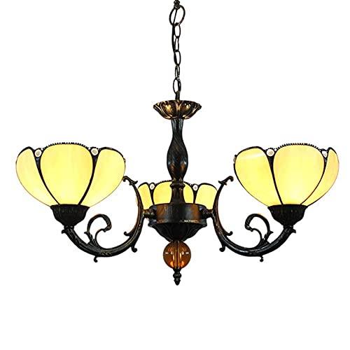 FFAN Estilo Tiffany Mesa de Comedor Cocina Lámpara de suspensión Iluminación Vitral Lámpara Colgante Lámpara de 3 Brazos Lámpara Colgante de Techo Invertida Good Life