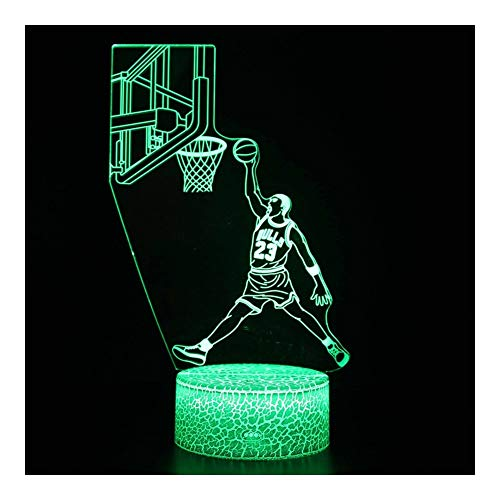 Review TXOZ NBA Star 3D Optical Illusion Smart 7 Colors Night Light Table Lamp USB Power Cable, for ...