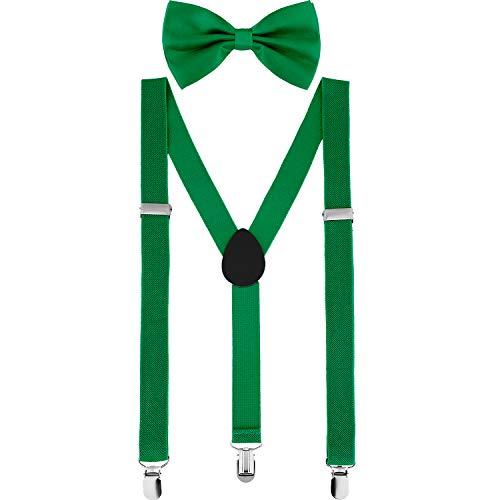St Patricks Day Dress Costume Green Bow tie Braces Suspenders Set