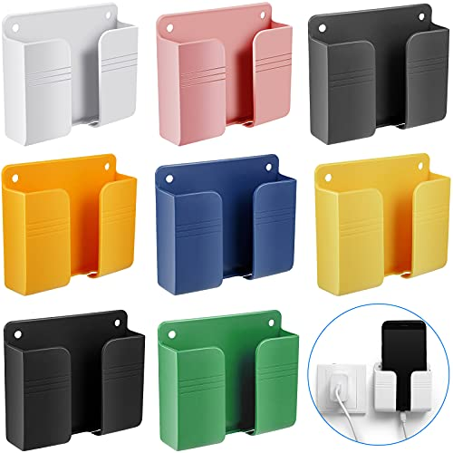 8 Pieces Wall Mount Phone Holder Adhesive Remote Control Storage Box Wall Mount Charging Phone Stand Holder Adhesive Non Slip Media Organizer Storage Box for Bedroom Kitchen Bathroom (Mixed Colors)