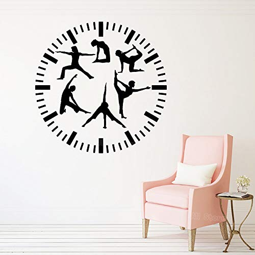 Wfnbzd Fitness Reloj Pared calcomanía Gimnasio Vinilo Pared Pegatina Deportes Yoga decoración del hogar Sala de Estar Dormitorio decoración Creativa calcomanía Chica 56x56cm