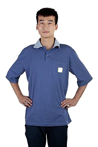Aituo Unisexe Antistatique Polo T Shirt col Rond - Bleu - XXX-Large