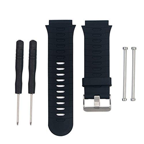 Cuigu Armband für Garmin Forerunner 920XT Aktivitätstracker, Silikon, Ersatzband, verstellbar und Werkzeug, Schwarz , 12 cm