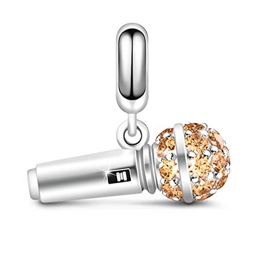 GNOCE Mini Mikrofon Charm Anhänger S925 Sterling Silber Im Leben Singen Charm Perlen mit Champagnersteinen für Armband Halskette Schmuck Geschenk für Damen Herren