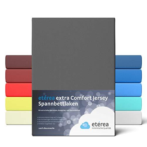 etérea Extra Jersey Spannbettlaken 140x200 bis 160x220 cm - Spannbetttuch für Boxspringbetten, Wasserbetten und Normale Matratzen, aus 100% Baumwolle und ca. 35 cm Steghöhe, Anthrazit