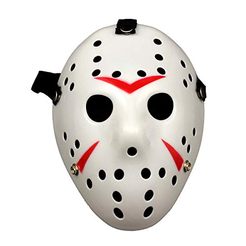Wen XinRong Jason Mask Halloween Costume Horror Mask Cosplay Costume Mask Party Masquerade Props Mask (White)