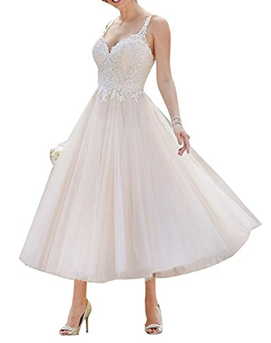 YDTQXG A-line Lace Backless Tea Length Tulle Short Bride Gown Wedding Dress White-US14