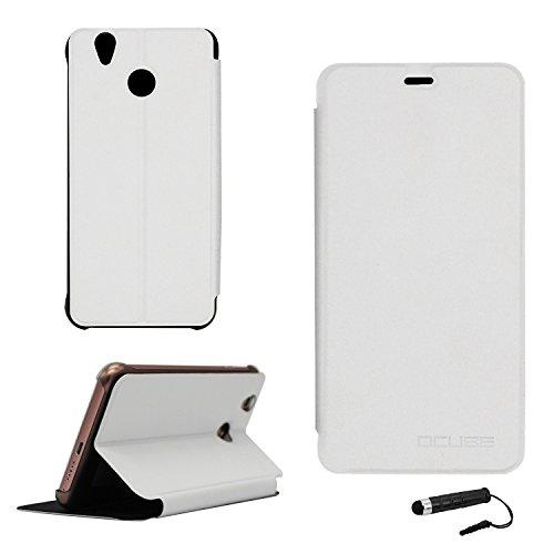 Tasche für Oukitel U7 pro / U7 plus Hülle, Ycloud PU Ledertasche Metal Smartphone Flip Cover Hülle Handyhülle mit Stand Function Weiß