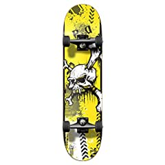 """Skateboard DECK 7.75"""" x 31"""", 7-Ply Maple Deck And SHAPE Trickboard - Mellow Concave, Double Kick on nose and tail makes it ideal for any tricks. Good for all level skateboard skater. Skateboard Griptape: Black Widow Premium Grade 80A Black Griptape. ..."""