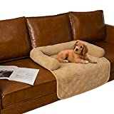 Ameritex Pet Dog Bed Coral Fleece Furniture Cover with Anti-Slip Back Suitable for Bed and Sofa Super Soft (Medium-30 x30, Sand)