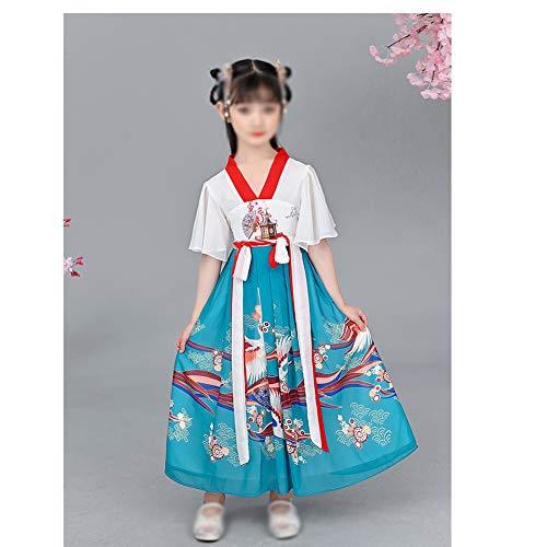 HLONGG Chinese Cheongsam Für Mädchen, Rockkleid Mädchen Kinder Hanfu Anzüge Chinesischen Kleid Sommer-Kind-Mädchen,140