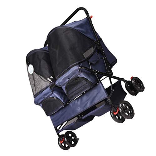 RYAN Hond Pushchair, 4 Wielen Kinderwagen Pram Carrier Opvouwbare Dubbele Koffer Kooi Kat Cart Gehandicapten Ouderen Huisdier Reizen Voor 25kg, Blauw