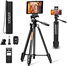 ACUTECATX 54-Inch Phone Tripod for iPhone iPad Android Cell Phone Camera Tripod Stand Mount with Wireless Remote + Universal Phone/Tablet Holder + Tripod Mount for Gopro and Carrying Bag(Black)