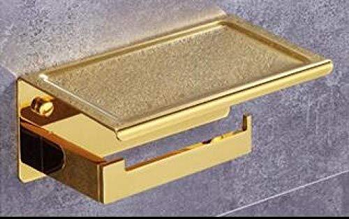 Nfudishpu Toilettenpapierhalter Papierhandtuchhalter Toilettenpapierhalter Regal Sus 304 Edelstahl Badzubehör Tissue Rollhalter mit Telefonablage Rack @ Single_Gold
