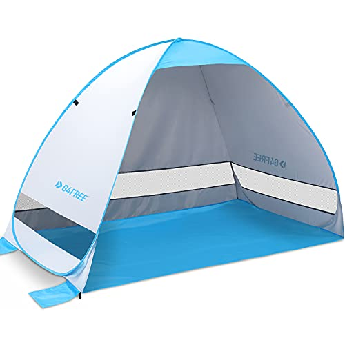 G4Free Large Pop up Beach Tent Automatic Sun Shelter Cabana Anti UV Instant Portable (Silver)
